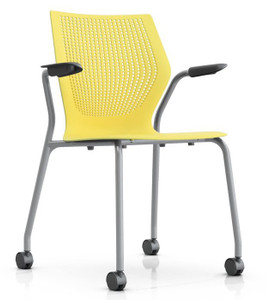 Knoll MultiGeneration Mobile Stack Chair in Yellow (YW) 30 Day Ship