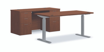 "Foundation 60"" Height Adjustable Workstation in Shaker Cherry"