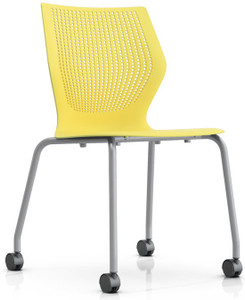 Knoll MultiGeneration Armless Mobile Stacking Chair in Yellow (YW)