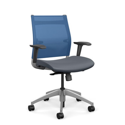 SitOnIt Wit Mid Back Task Chair with Electric Blue Mesh and Element H20 seat vinyl, silver back support and aluminum base