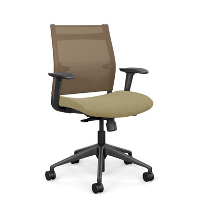 SitOnIt Wit Mid Back Task Chair with Desert Mesh and Cosmos Vernal seat fabric, black back support and black base