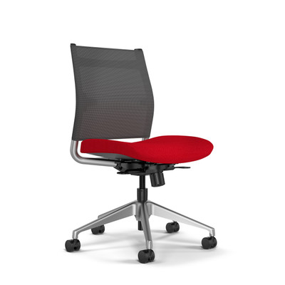 SitOnIt Wit Mid Back Task Chair with Nickel Mesh, silver back support and aluminum base, armless