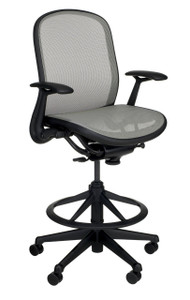 Knoll Chadwick Tilt Stop High Task Chair in Silver 03 Monofilament w/ Fixed Height Arms