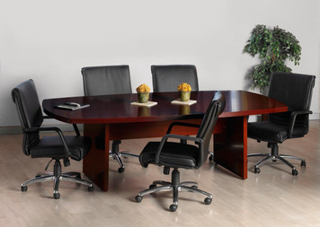 Mayline Luminary Wood Veneer 8' Convex Conference Table with chairs