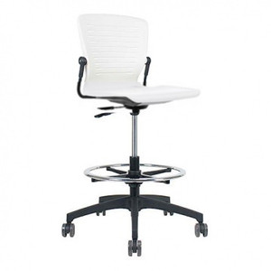Active Tasker Stool with optional foot ring, shown in Arctic White