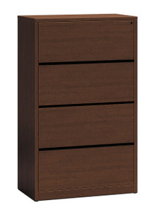 Hon 10500 Series Woodgrain Laminate Four Drawer Lateral File, shown here in Mahogany, but available in Pinnacle and Walnut