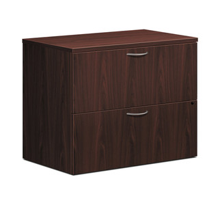 Foundation Woodgrain Laminate Two Drawer Lateral File, Mahogany