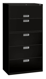 "Brigade 600 Series Five Drawer Lateral File, 36"" in Black (P)"