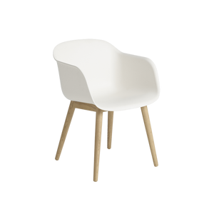 Muuto Fiber Armchair with Wood Base, Natural White Shell and Oak Base