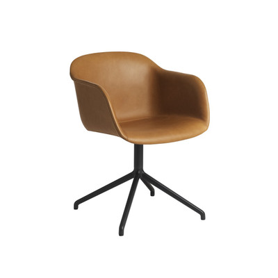 Muuto Fiber Armchair With Swivel Base, Cognac Silk Leather ...