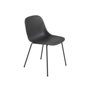 Muuto Fiber Side Chair with Black Shell and Tube Base