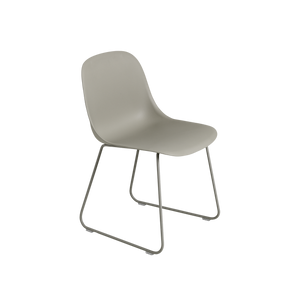 Muuto Fiber Side Chair with Grey Shell and Sled Base