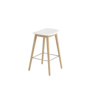 Muuto Fiber Counter Stool with Natural White Seat and Oak Wood Base
