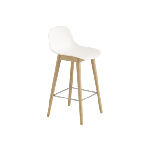 Muuto Fiber Bar Stool with Natural White Backrest and Oak Wood Base