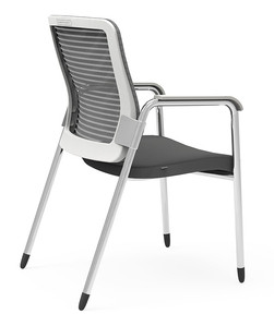 Eon Guest Arm Chair, white frame and grey mesh