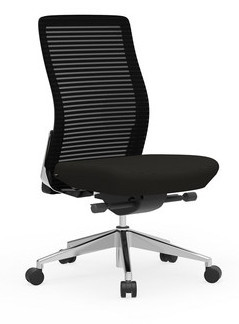 Eon Mid-Back Task with white frame with Black mesh, Black seat, armless