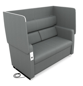 Morph Series Privacy Sofa, Slate Vinyl