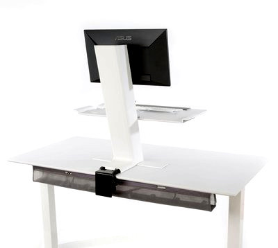 Humanscale QuickStand Small Platform with White with Gray Trim Finish Back View