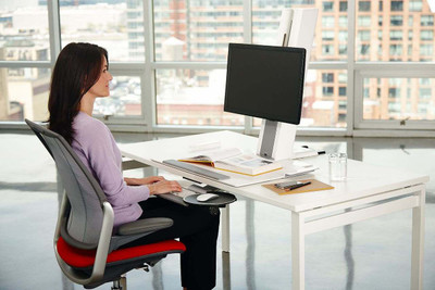 Humanscale QuickStand Small Platform with White with Gray Trim Finish Platform Down