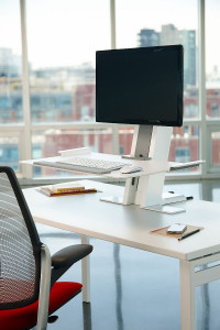 Humanscale  QuickStand Small Platform with White with Gray Trim Finish Platform Raised