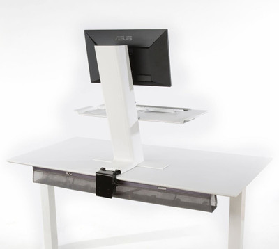 Humanscale QuickStand Large Platform with White with Gray Trim Finish Back View