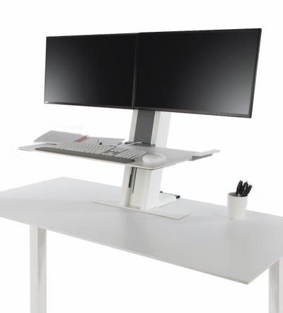 Humanscale QuickStand Large Platform Dual Monitor Mount with White with Gray Trim Finish