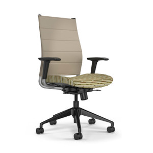 SitOnIt Wit Thintex High Back Task Chair with silver back support and black base