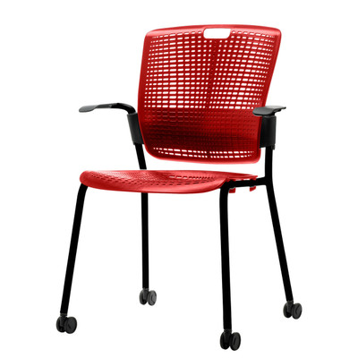 Humanscale Cinto Ergonomic Stack Chair with Optional arms & casters in Red w/ Black Frame