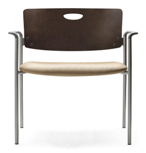 Accent Bariatric Stacking Guest Chair with mahogany back, grey arms and silver frame
