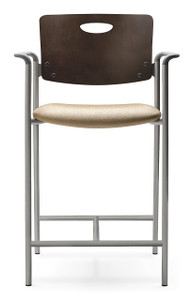 Accent Stool with mahogany back, grey arms and silver frame - with arms or armless