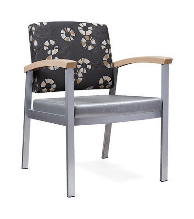 Legend Guest Chair with Contrasting Upholstery, Hardrock Maple Armcaps, Smooth Silver Frame