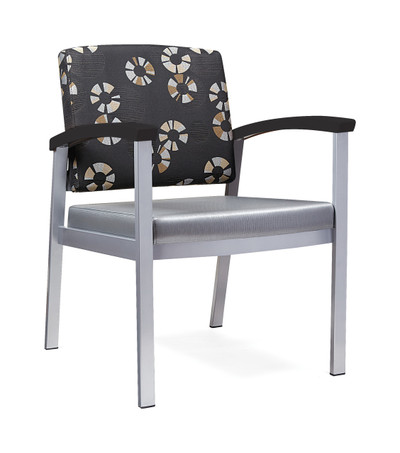 Legend Guest Chair with Contrasting Upholstery, Chocolate Armcaps, Smooth Silver Frame