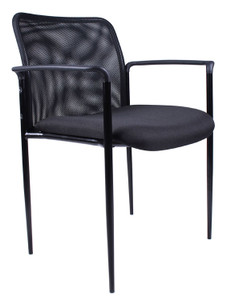 Stackable Mesh Guest Chair in Black Seat Black Mesh Back