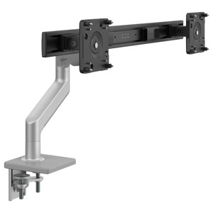 M8.1 Dual Monitor Arm in silver with grey trim