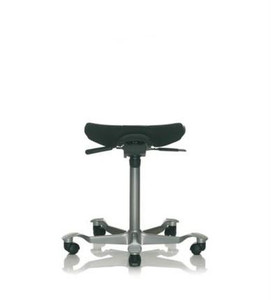 HAG Capisco Upholstered Puls Saddle Stool with Silver base