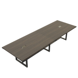 Mirella Rectangular 12' Sitting Height Laminate Conference Table in Southern Tobacco laminate, black base