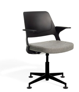 Ollo Light Task Chair with 4-Star Base and Glides, black upper and lower back and base finish, Delite seat upholstery