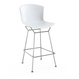 KnollStudio Bertoia Molded Shell Side Chair with White shell and Polished Chrome base