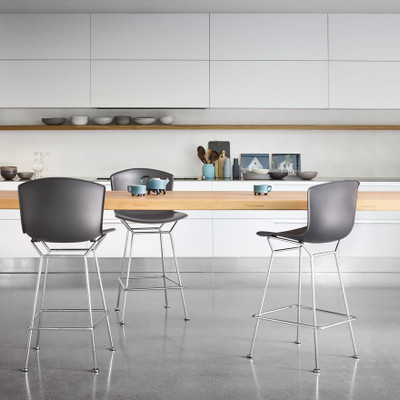 KnollStudio Bertoia Molded Shell Side Chair with Medium Grey shell and Polished Chrome base