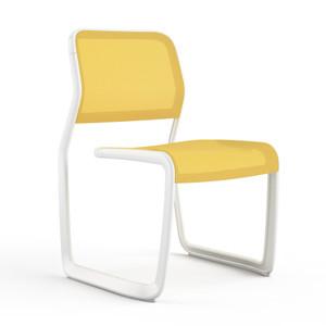 KnollStudio Newson Aluminum Guest, warm white frame and yellow mesh