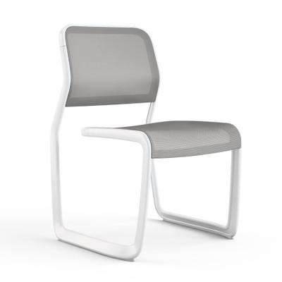 KnollStudio Newson Aluminum Guest, warm white frame and medium grey mesh