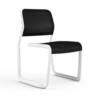 KnollStudio Newson Aluminum Guest, warm white frame and black mesh