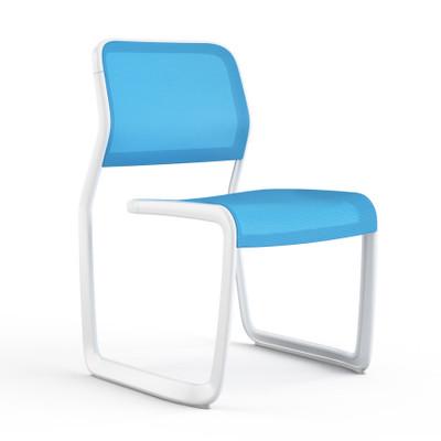 KnollStudio Newson Aluminum Guest, warm white frame and blue mesh