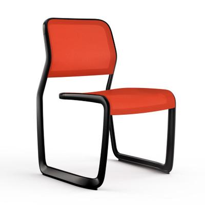 KnollStudio Newson Aluminum Guest, black frame and orange mesh