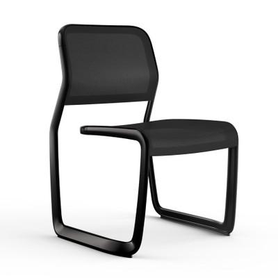 KnollStudio Newson Aluminum Guest, black frame and mesh