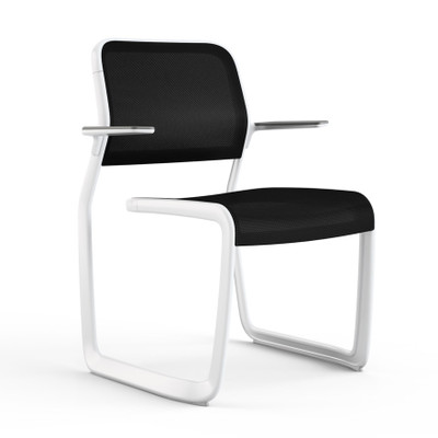 KnollStudio Newson Aluminum Guest, warm white frame with grey glides, arm pads and back insert; black mesh