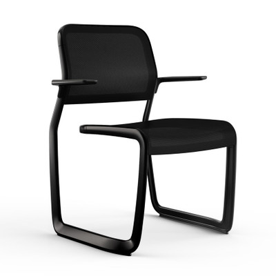 KnollStudio Newson Aluminum Guest, black frame with black glides, arm pads and back insert; black mesh