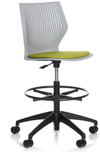 Knoll MultiGeneration High Task, white shell with lemongrass seat pad