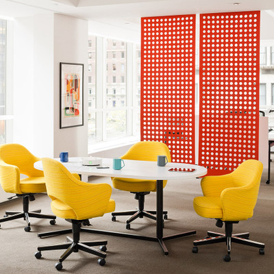 KnollStudio Saarinen Executive Arm Chair with Swivel Base adds character to the conference room