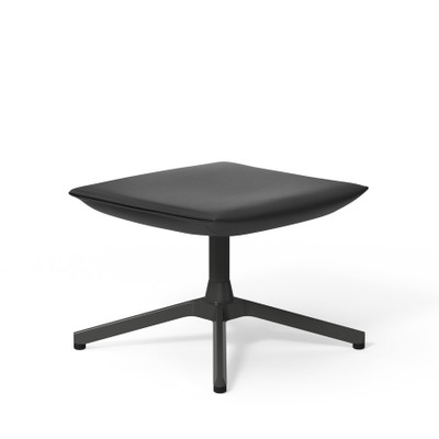 KnollStudio Leather Pilot Ottoman in Black Volo Leather